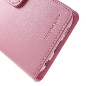 Diary PU kožené puzdro na mobil Samsung Galaxy S6 -růžové - 7