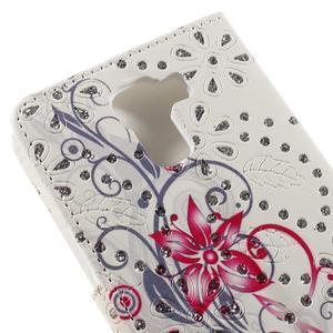 Peňaženkové puzdro s třpytivými flitry pre Huawei Honor 7 - červený květ - 7