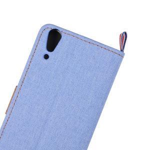 Jeans PU kožené/Textilné puzdro pre mobil Lenovo A6000 - svetlo modré - 7