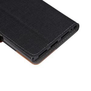 Jeans PU kožené/textilní puzdro na mobil Lenovo P70 - čierné - 7