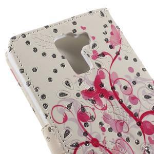 Peňaženkové puzdro s třpytivými flitry pre Huawei Honor 7 - červení motýlci - 7