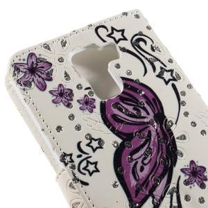 Peňaženkové puzdro s třpytivými flitry pre Huawei Honor 7 - nádherný motýl - 7
