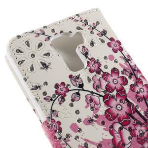 Peňaženkové puzdro s třpytivými flitry pre Huawei Honor 7 - kvetoucí větvička - 7