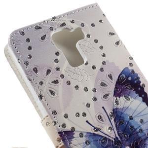 Peňaženkové puzdro s třpytivými flitry pre Huawei Honor 7 - modrý motýl - 7