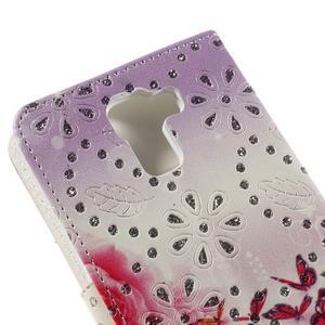 Peňaženkové puzdro s třpytivými flitry pre Huawei Honor 7 - květinoví motýlci - 7
