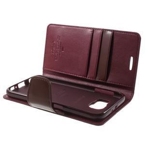 Diary PU kožené puzdro pre mobil Samsung Galaxy S6 - vínové - 7