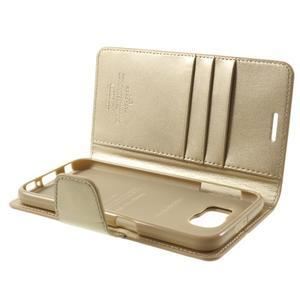 Diary PU kožené puzdro pre mobil Samsung Galaxy S6 - zlaté - 7