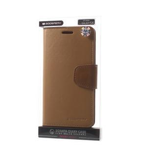 Diary PU kožené puzdro pre mobil Samsung Galaxy S6 - hnedé - 7