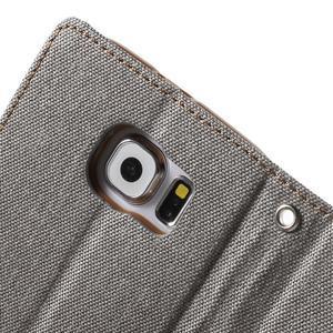 Luxury textilní/koženkové puzdro na Samsung Galaxy S6 - šedé - 7