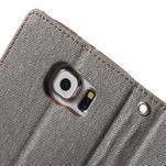 Luxury textilní/koženkové puzdro na Samsung Galaxy S6 - šedé - 7/7