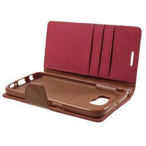 Luxury textilní/koženkové puzdro na Samsung Galaxy S6 - červené - 7