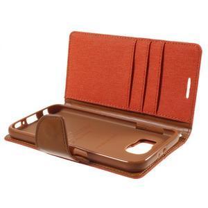 Luxury textilné/koženkové puzdro pre Samsung Galaxy S6 - oranžové - 7