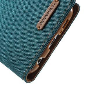 Luxury textilní/koženkové puzdro na Samsung Galaxy S6 - zelenomodré - 7