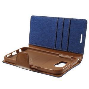 Luxury textilní/koženkové puzdro na Samsung Galaxy S6 - modré - 7