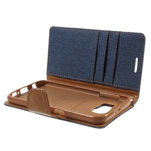Luxury textilné/koženkové puzdro pre Samsung Galaxy S6 - jeans - 7