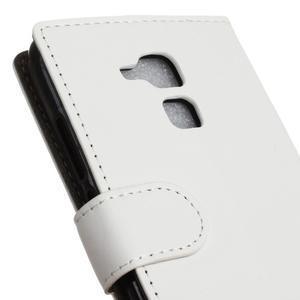 Peňaženkové PU kožené puzdro pre mobil Honor 7 Lite - bielé - 7