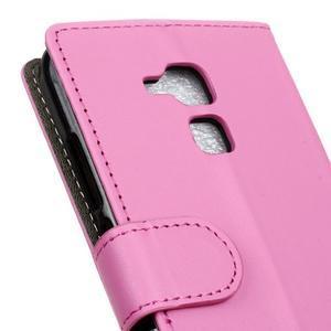 Peňaženkové PU kožené puzdro pre mobil Honor 7 Lite - rose - 7