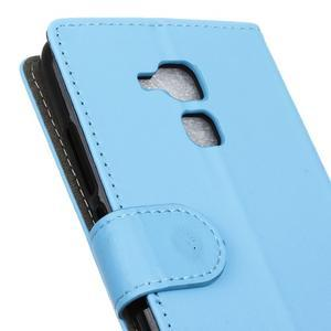 Peňaženkové PU kožené puzdro pre mobil Honor 7 Lite - modré - 7
