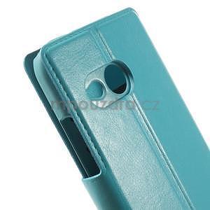 Tyrkysové peňaženkové puzdro pre HTC One mini 2 - 7