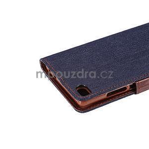 Štýlové peňaženkové puzdro Jeans na Huawei Ascend P8 -  čiernomodré - 7