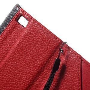 Luxusní peněženkové pouzdro na Huawei P8 Lite - červené / černé - 7