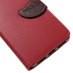 Knižkové PU kožené puzdro na mobil Huawei Mate S - červené - 7