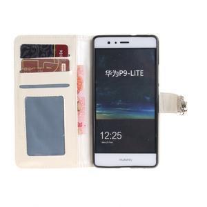 Luxury PU kožené peněženkové pouzdro na Huawei P9 Lite - bílé - 7