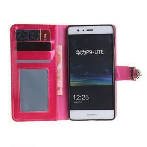 Luxury PU kožené peňaženkové puzdro na Huawei P9 Lite - rose - 7