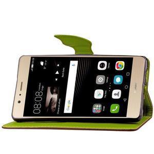 Leaf PU kožené pouzdro na Huawei P9 Lite - hnědé - 7