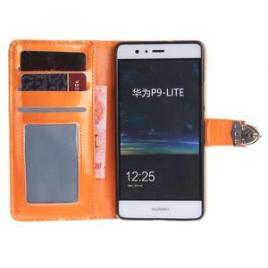 Luxury PU kožené peňaženkové puzdro na Huawei P9 Lite - oranžové - 7