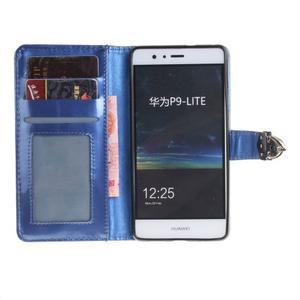 Luxury PU kožené peněženkové pouzdro na Huawei P9 Lite - modré - 7