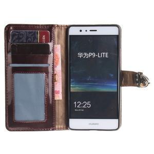 Luxury PU kožené peňaženkové puzdro na Huawei P9 Lite - coffee - 7