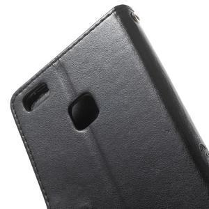 Cloverleaf penženkové puzdro s kamínky na Huawei P9 Lite - čierne - 7