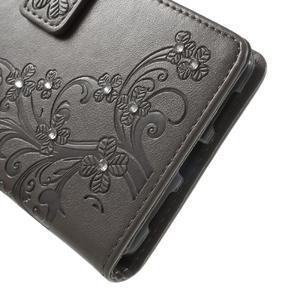 Cloverleaf penženkové pouzdro s kamínky na Huawei P9 Lite - šedé - 7