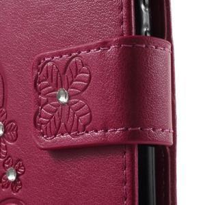Cloverleaf penženkové pouzdro s kamínky na Huawei P9 Lite - rose - 7