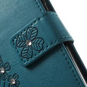 Cloverleaf penženkové pouzdro s kamínky na Huawei P9 Lite - modré - 7