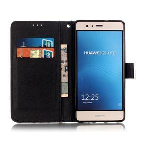 Knižkové PU kožené puzdro na Huawei P9 Lite - lebka - 7