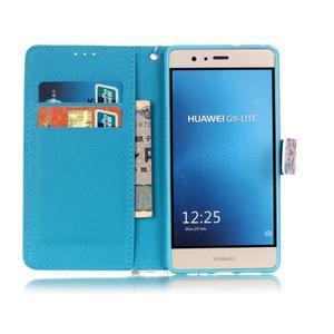 Knížkové PU kožené pouzdro na Huawei P9 Lite - barevná peříčka - 7