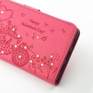 Loves PU kožené pouzdro s kamínky na Huawei P9 Lite - rose - 7