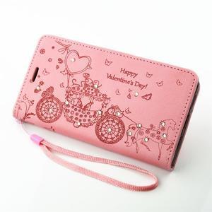 Loves PU kožené pouzdro s kamínky na Huawei P9 Lite - růžové - 7