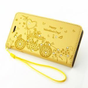 Loves PU kožené pouzdro s kamínky na Huawei P9 Lite - žluté - 7
