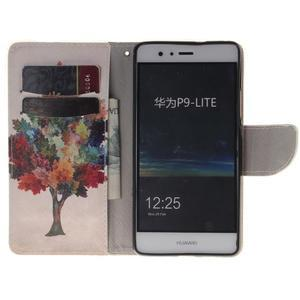 Lethy knížkové pouzdro na telefon Huawei P9 Lite - podzimní strom - 7