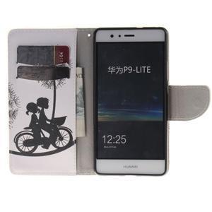 Lethy knižkové puzdro na telefon Huawei P9 Lite - láska na bicykli - 7