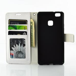 Víla PU kožené pouzdro s kamínky na Huawei P9 Lite - bílé/růžové - 7
