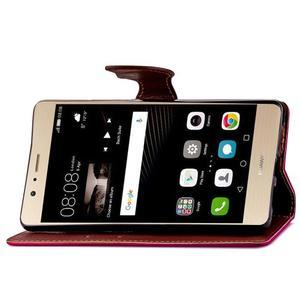 Leaf PU kožené puzdro na Huawei P9 Lite - rose - 7