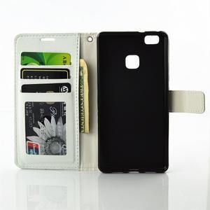 Víla PU kožené pouzdro s kamínky na Huawei P9 Lite - bílé/zelené - 7