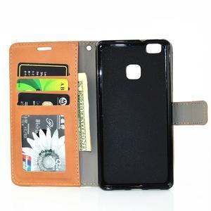 Víla PU kožené pouzdro s kamínky na Huawei P9 Lite - hnědé - 7