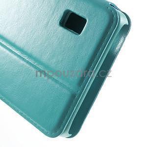 Tyrkysové kožené puzdro na Huawei Y635 - 7