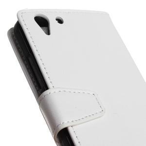 Knížkové PU kožené puzdro pre Lenovo Vibe K5 / K5 Plus - bielé - 7