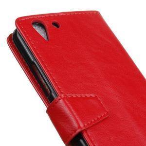 Knížkové PU kožené puzdro pre Lenovo Vibe K5 / K5 Plus - červené - 7